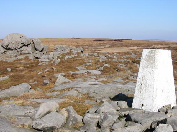 Ward's Stone 560m trig point. The higher trig point by 1m is 700m to the east of this one (a white dot, centre skyline)