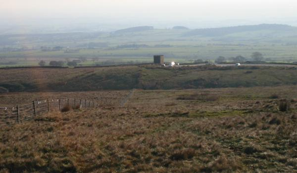 Looking back down on the Jubilee Tower from the descent off Grit Fell