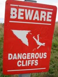 Dangerous cliffs sign