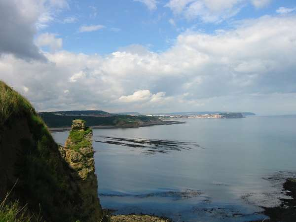 Osgodby Point (also called Knipe Point) and Scarborough from Lebberston Cliff
