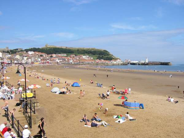 Looking across South Bay to the castle and east harbour, Scarborough