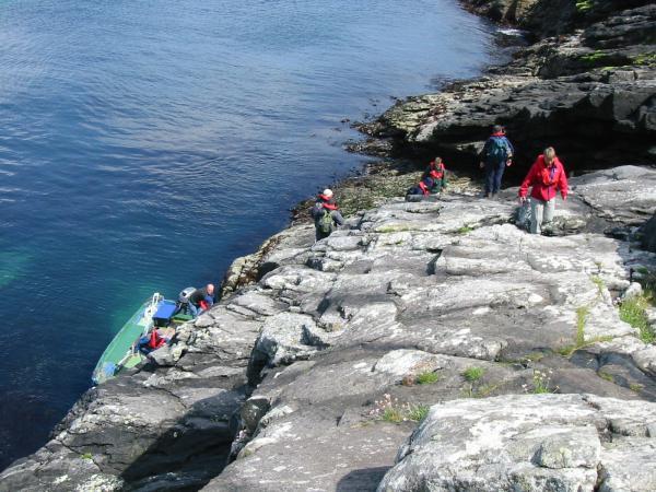 Climbing ashore