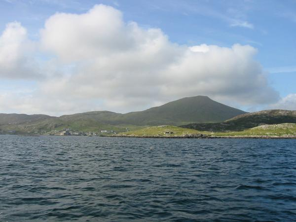 Castle Bay with Heaval (Sheabhal) (1,260ft / 383m) the highest point on Barra behind