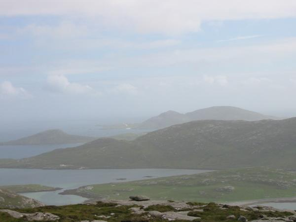 Vatersay with Sandray beyond from high up Ben Tangaval