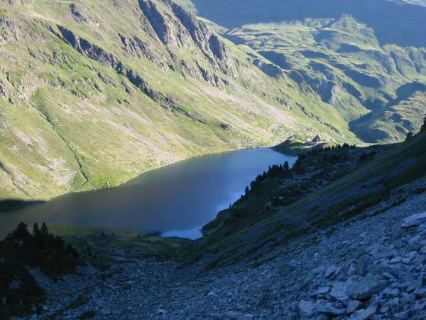 Looking back down on the lac and refuge from the ascent to the Col de la Haugade