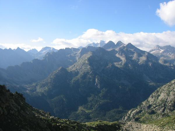 The view south. Tonight's stop is under the north face of Vignemale, the highest peak in the far distance, centre.