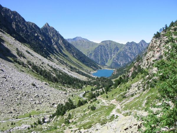 Looking back down on Lac de Gaube