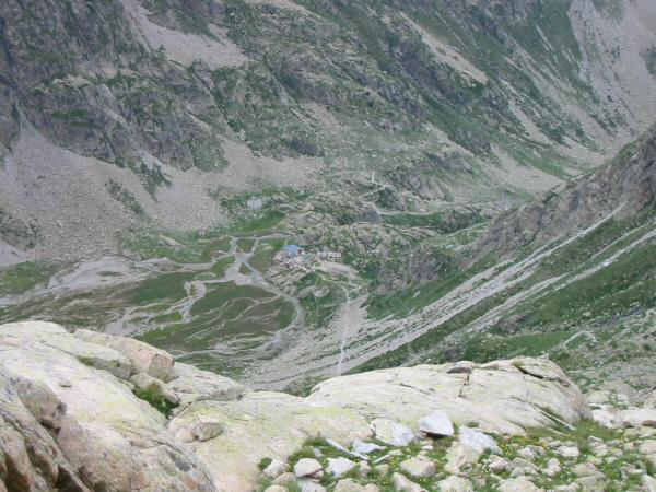 Looking back down on Refuge des Oulettes de Gaube as we head for Hourquette d' Ossoue