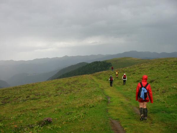 Heading along the rolling ridge