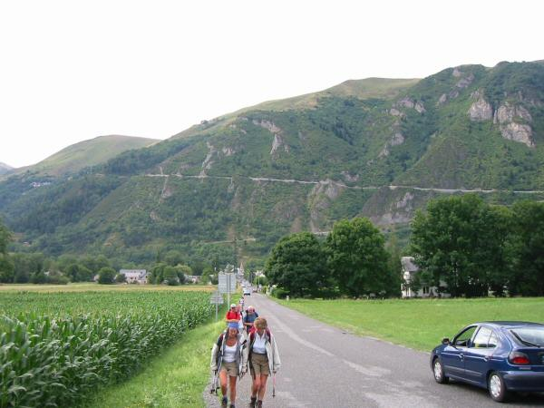 Looking back to the very steep and long descent as we head for the campsite after a stop for liquid refreshment