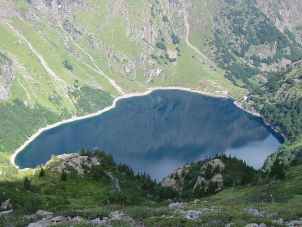 Looking down on Lac d'Oo