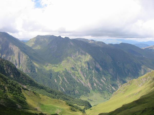 Our gite was in the bottom of the valley. Yesterday's route had been down the hanging valley to the left of the photo