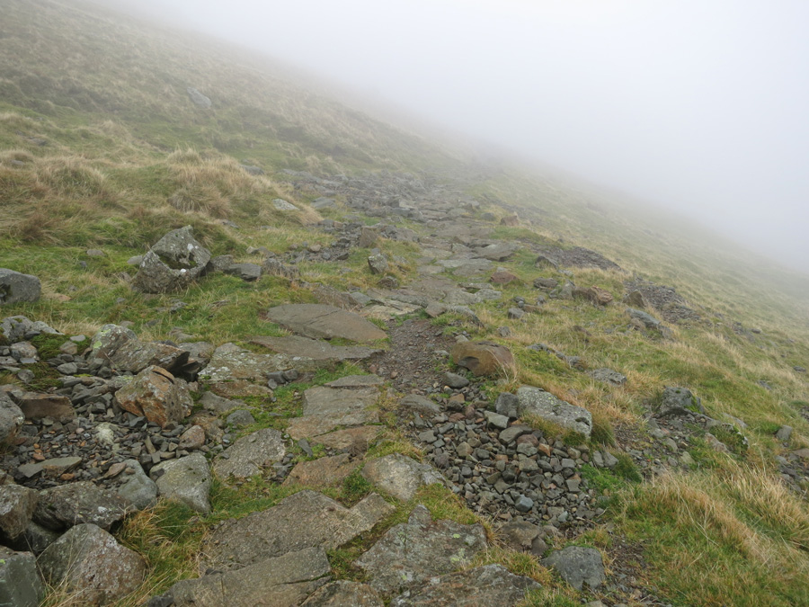 Looking down the Dollywaggon Pike zig-zags as I get into the cloud