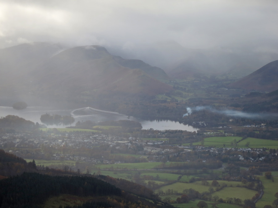 Keswick and Derwent Water as I get back below the cloud