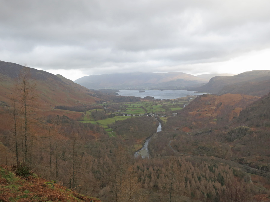 Looking north to Derwent Water with Skiddaw in cloud beyond from Castle Crag's summit