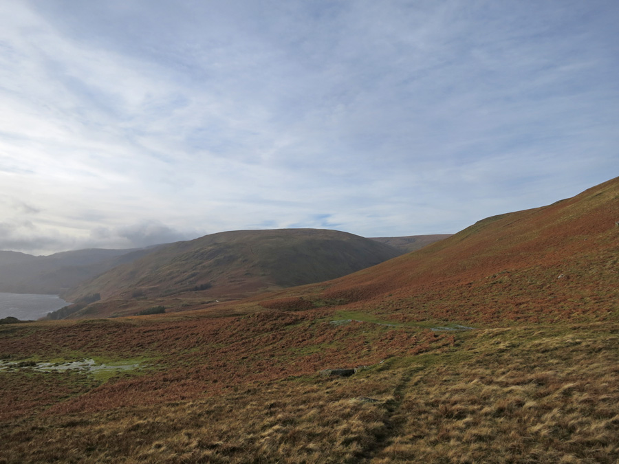 The broad north east ridge of Low Raise ahead as we descend to Measand Beck