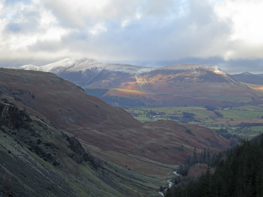North towards the Skiddaw fells from Castle Crag Fort