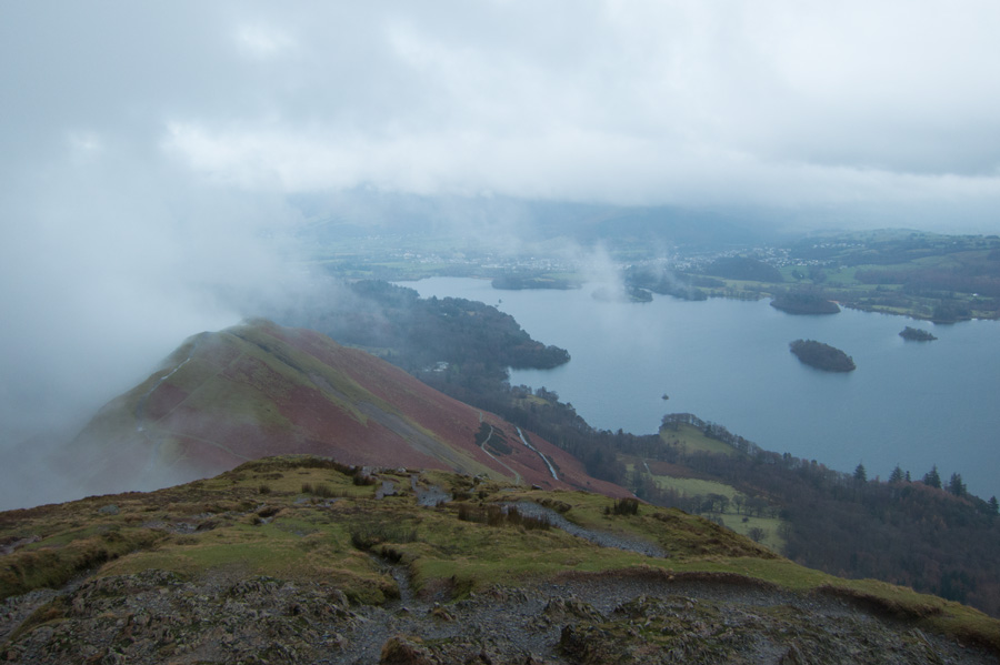 Skelgill Bank and Derwent Water from Catbells summit