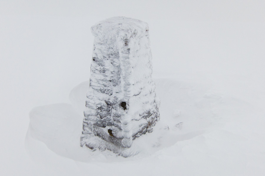 Helvellyn's trig point in very poor visibility