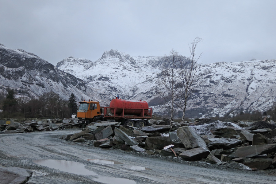 The Langdale Pikes from Burlington Slate Ltd quarries at Elterwater