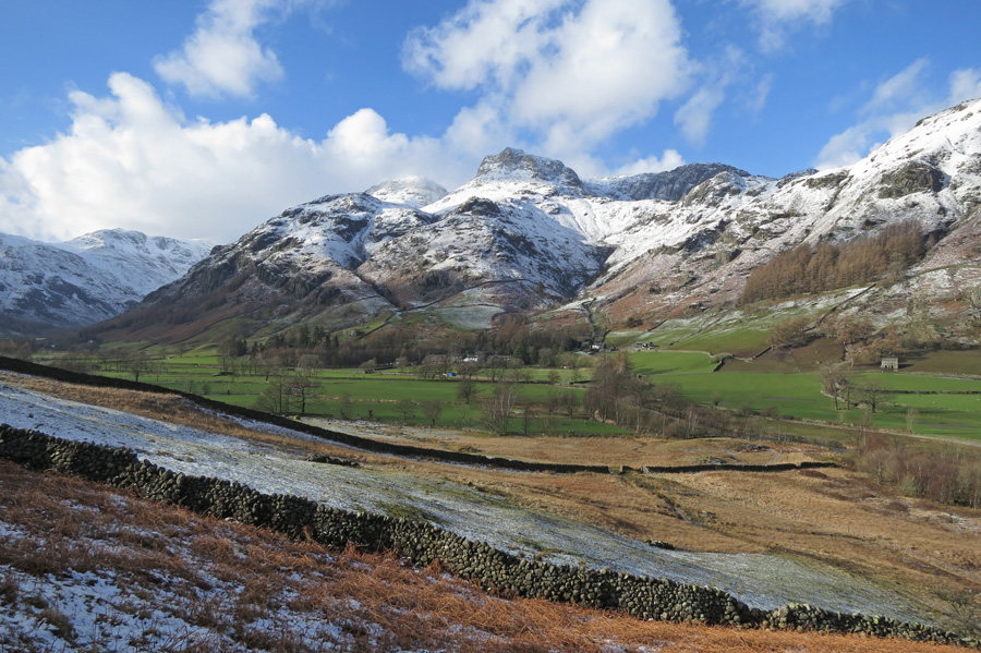 Looking back to the Langdale Pikes as we head back to Elterwater
