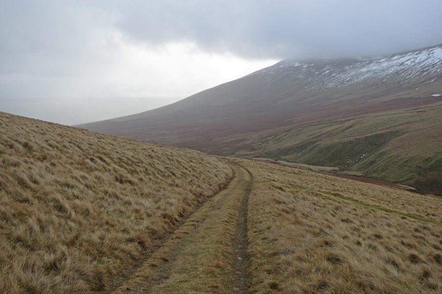 Looking back down the track with Carrock Fell on the right
