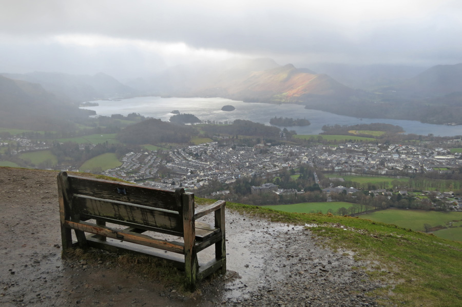A seat with a view. Keswick below, Derwent Water and Catbells catches the sun.