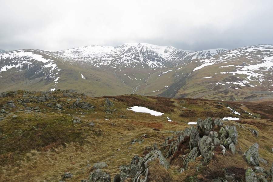 Looking across to Helvellyn and Catstycam