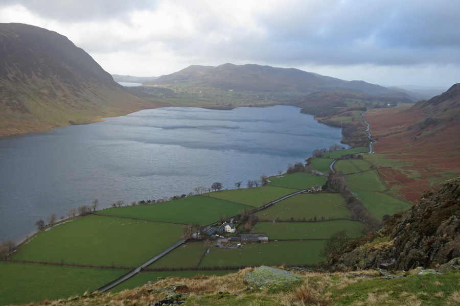 Rannerdale Farm below, Crummock Water, Low Fell and a glimpse of Loweswater