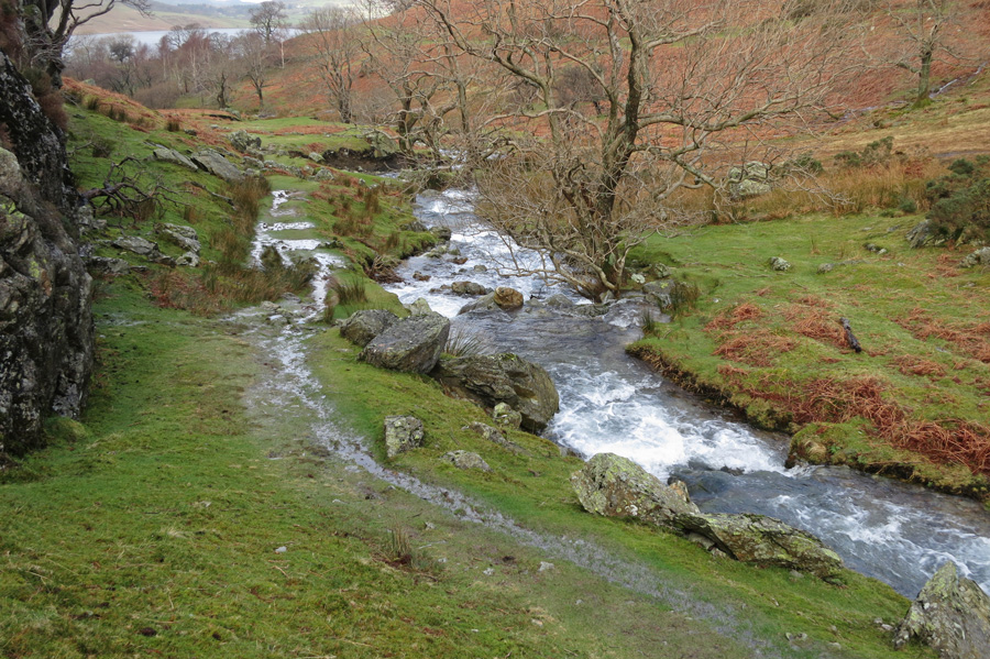 Rannerdale Beck downstream of its junction with Squat Beck