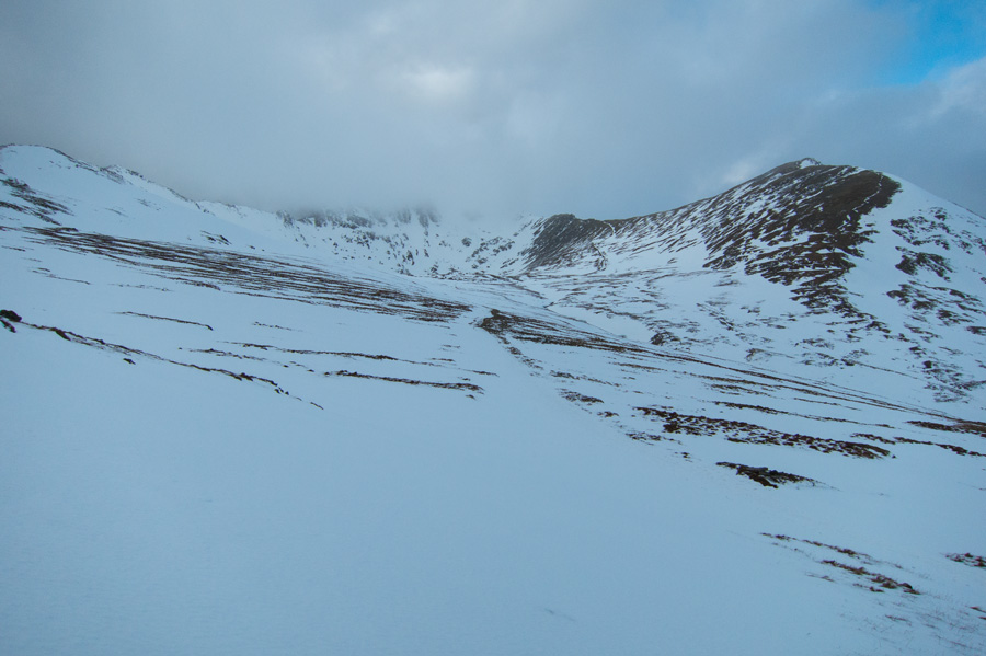 Looking back towards Helvellyn and Catstycam from near the Hole-in-the-Wall