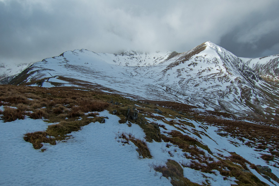 High Spying How, Helvellyn (in cloud) and Catstycam