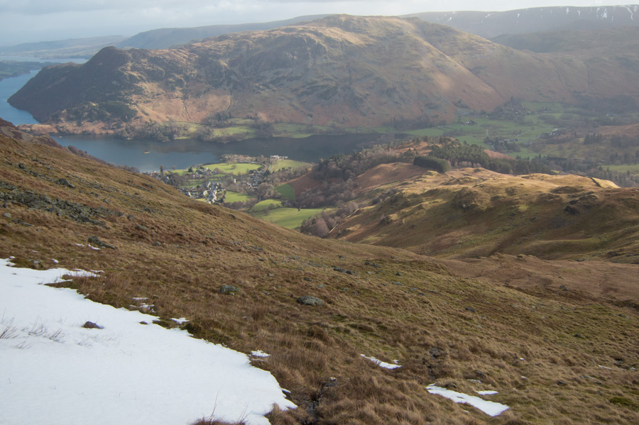 Looking down on Glenridding with Place Fell on the far side of Ullswater