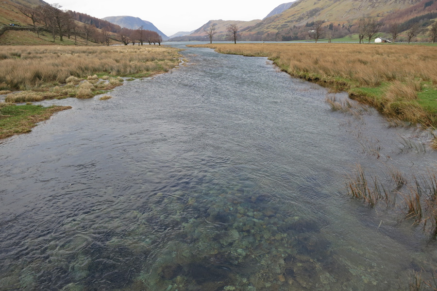 Warnscale Beck flowing into Buttermere from Peggy's Bridge