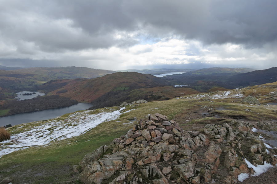 Grasmere, Rydal Water and Windermere from the summit
