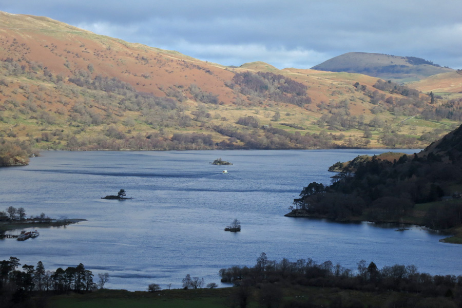 Ullswater with Great Mell Fell in the distance from the ascent of Arnison Crag