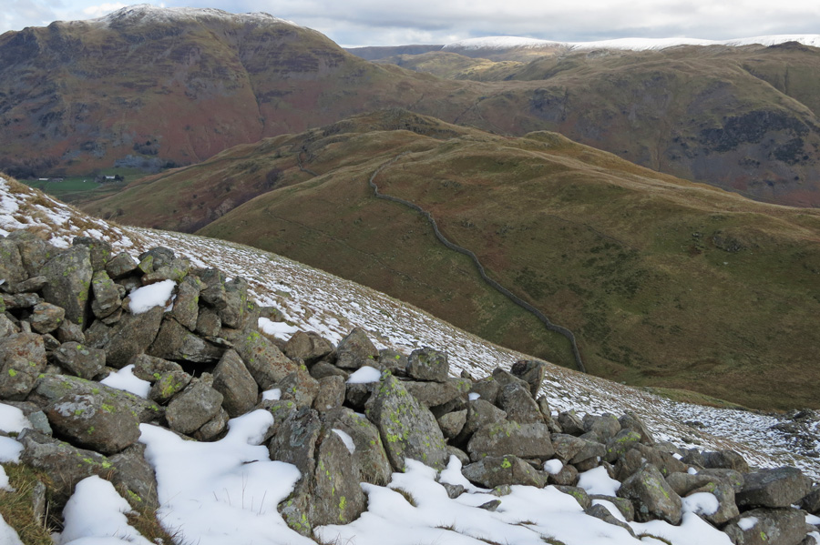 Looking back down on Arnison Crag from the ascent of Birks