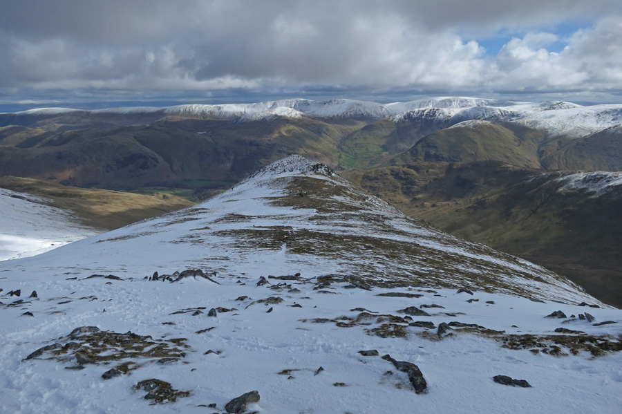 Looking back down on Gavel Pike, St Sunday Crag's subsidiary top