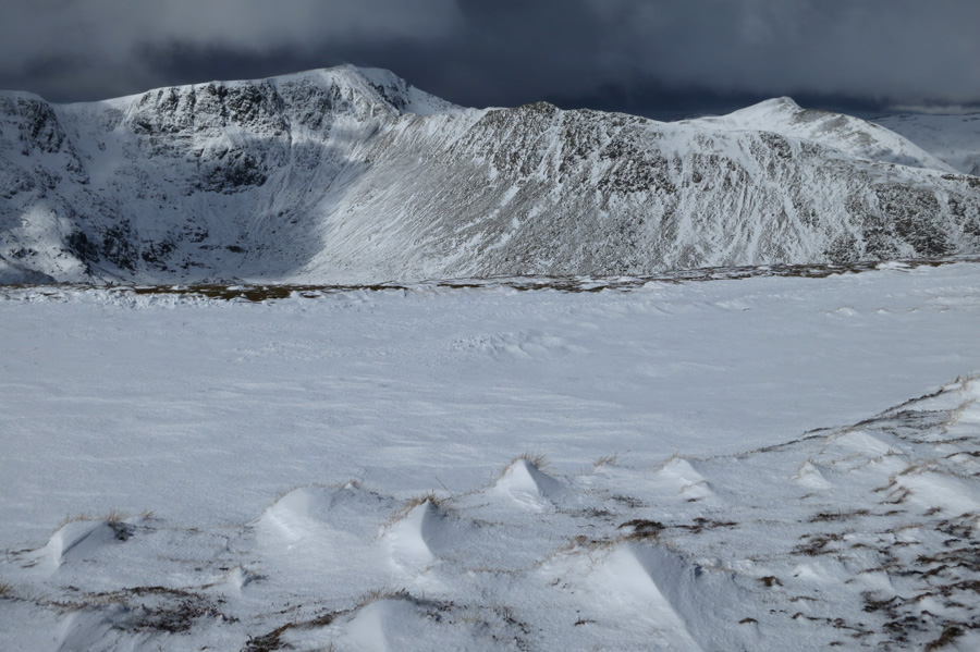Striding Edge on to Helvellyn with Catstycam behind right