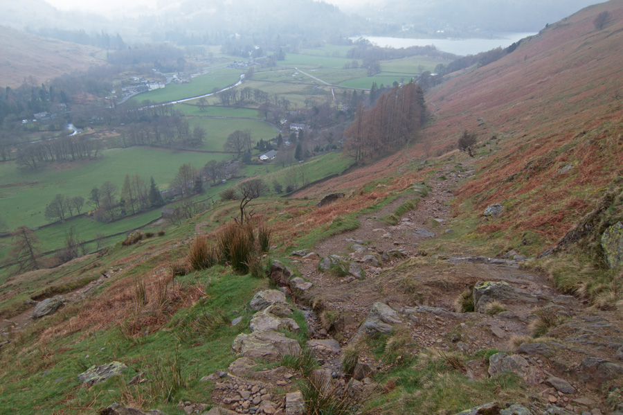 Looking back down on Patterdale from the path to Boredale Hause
