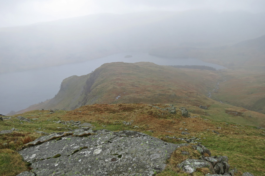 Looking down on Castle Crag (on the left) from our descent of High Raise's southeast ridge