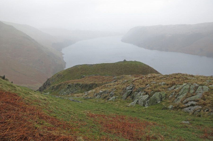 Castle Crag, the British Fort on the southeast ridge of High Raise with Haweswater beyond