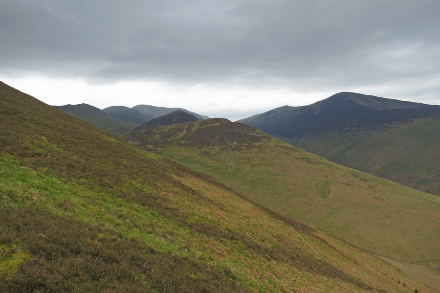 Stile End centre with Outerside behind, Scar Crags, Sail and Crag Hill on the skyline left and Grisedale Pike on the right