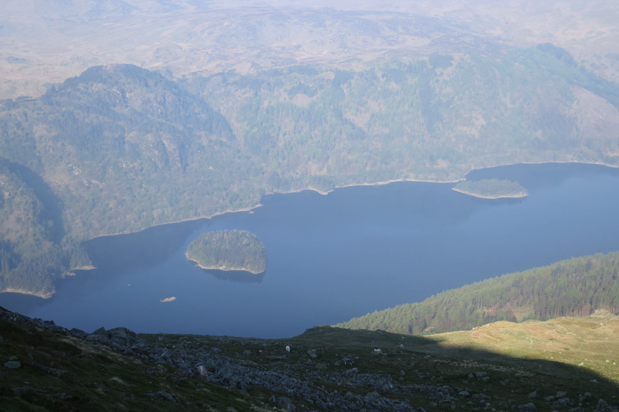 Looking down on Thirlmere with Hawes How Island on the left and Deergarth How Island on the right