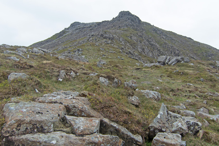 Looking up the top section of the ridge