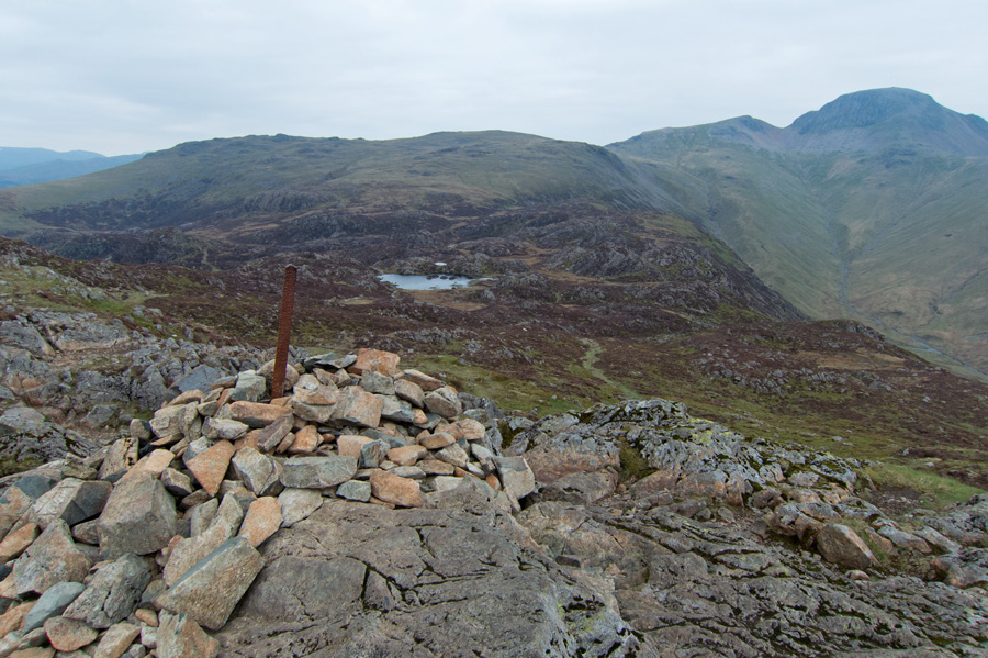Towards Innominate Tarn and Great Gable from Haystacks summit cairn