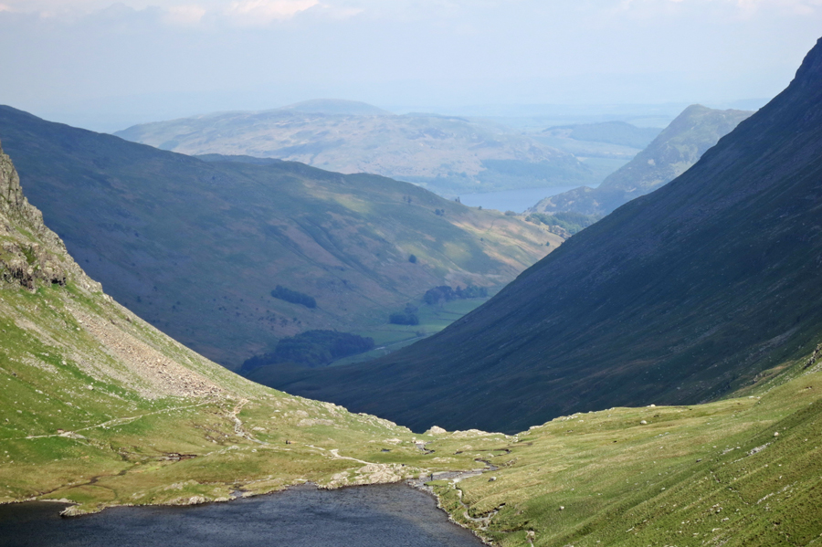 Zooming in on Grisedale with Ullswater in the distance