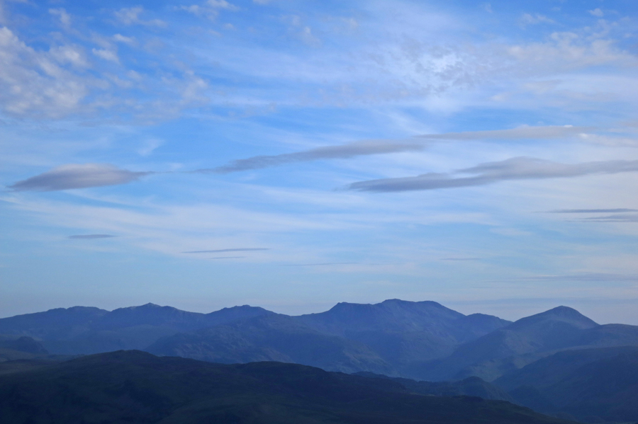 Zooming south - Crinkle Crags, Bowfell, Esk Pike, Great End, Scafell Pike, Scafell and Great Gable