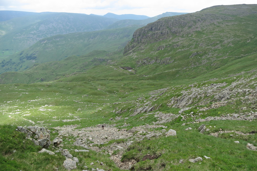 Looking back down my route as I ascend Hart Crag