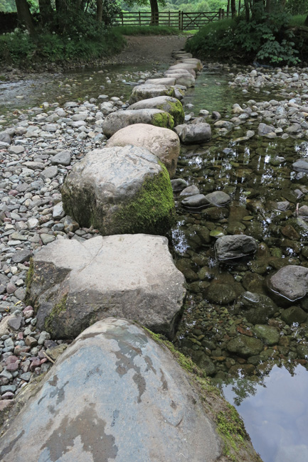 Stepping stones across the River Derwent, often underwater but not today